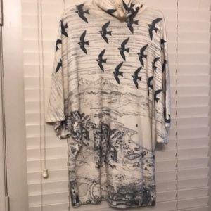 Mock Turtleneck gorgeous sweater bird print